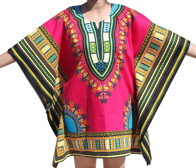 RaanPahMuang Brand Festival Shirt Batwing Flap Sides Bright Africa Dashiki Print, XLarge, Magenta Pink