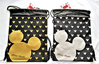 Drawstring Backpack Gym School Bag Authentic Licensed Disney Pixar Nickelodeon (2 Pieces Mickey Mouse Gold & Silver)