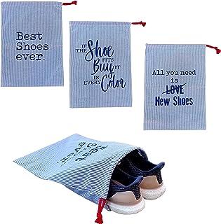 حقيبة تخزين ايرثوايز للأحذية لتخزين وحماية الأحذية بأناقة مصنوعة في الولايات المتحدة الأمريكية مع إغلاق برباط (3 حزم)