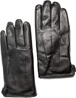Men's Touchscreen Genuine Rex Rabbit Fur Lined Premium Sheepskin Leather Gloves, Gift Box by CANDOR AND CLASS