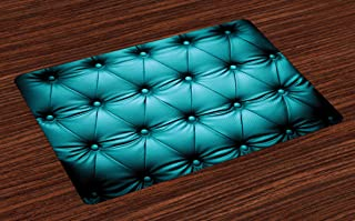 Lunarable Turquoise Place Mats Set of 4, Buttoned Couch Sofa Bed Headboard Leather Cover Furniture Upholstery Artwork Print, Washable Fabric Placemats for Dining Table, Standard Size, Teal