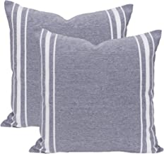 KAF Home Corded Stripe Pillow Cover 20 x 20-inch 100-Percent Cotton Set of 2 (Blue)