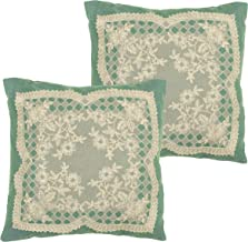 Creative Home Ideas Caisey 18 x 18 in. Set of 2 Lace & Embroidery Applique Pillow Covers w/Zipper Closure, Teal