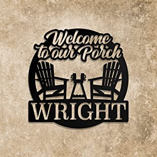 Welcome to Our Porch, Custom Metal Sign, Personalised Wall Decoration and Welcome Sign, Name Sign, Family Name, Houswarmin...