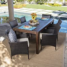 Christopher Knight Home TAFT Outdoor 7 Piece Dining Set with Dark Brown Finished Wood Table and Multibrown Wicker Dining Chairs with Beige Water Resistant Cushions