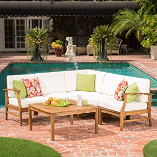 Christopher Knight Home 299095 Capri Outdoor Patio Furniture Wood 6 Piece Chat Set with Water Resistant Cus, Cream