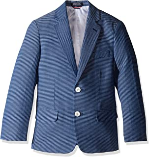 dark blue jeans and sports coat