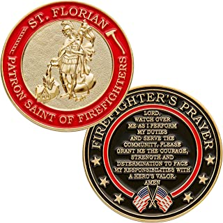 St. Florian Patron Saint of Firefighters with Hero's Valor Prayer Single Coin (1-Pack)