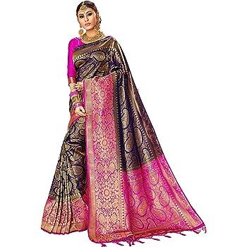Sarees for Women Banarasi Art Silk l Indian Rakhi Wedding Diwali Gift Sari with Unstitched Blouse