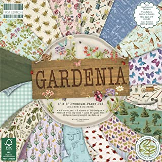 """First Edition Gardenia 8"""" x 8"""" Pad-48 Sheet, 200gsm Heavyweight Cardstock, Acid & Lignin Free, Soy Inks-For Card Making, S..."""
