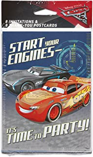 Designware Cars 3 8 Pack Invitation Thank You, Invite/Thank You Combo, 8-Count