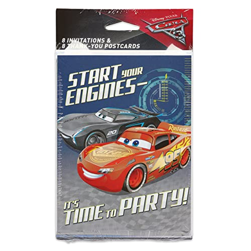 Designware Cars 3 8 Pack Invitation Thank You Invite Combo