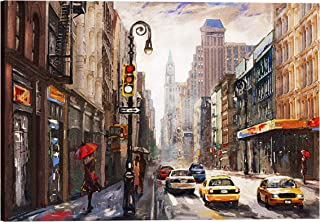 IslamicArtPoint New York Skyline on Canvas/Collection of Times Square, Brooklyn Bridge and City Options (New York Street)