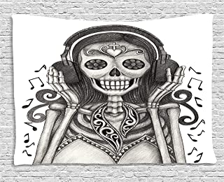 Ambesonne Day Of The Dead Decor Tapestry by, Dia de Los Muertos Skull Girl with Headphones Music Lover Print, Wall Hanging for Bedroom Living Room Dorm, 80WX60L Inches, Dust and Dimgrey