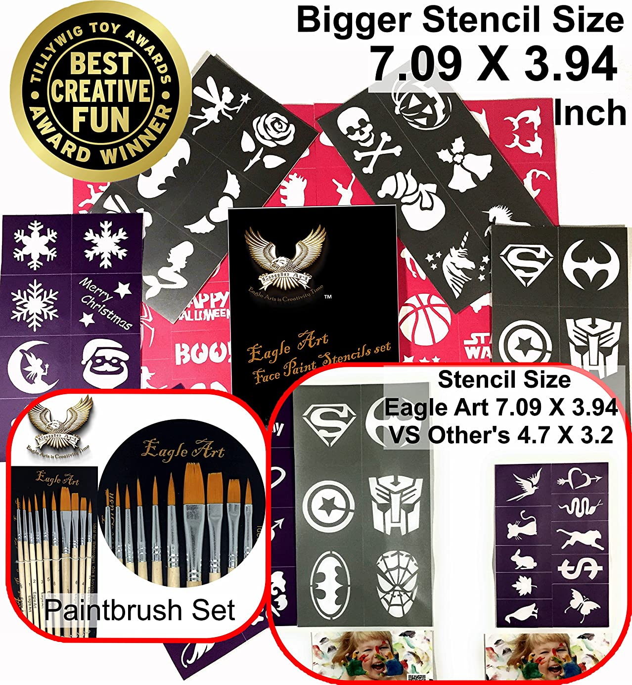 Face Paint Stencil & Paint Brush Set By Eagle Art (1 Stencil Set & 1 Artist Brush Set) | X-large 2x2.4, Large 2x1.8, Medium 2x1.4 (Inches) Size Stencil Design | Reusable Adhesive Stencils wgfzxb1764
