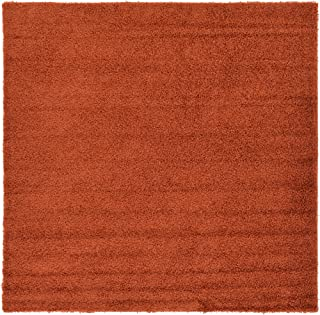 A2Z Rug Cozy Shaggy Collection 8x8-Feet Solid Area Rug - Terracotta