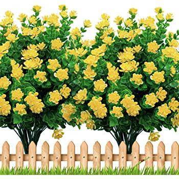 Artificial Flowers Outdoor Plastic Mums - 6 Bundles Face Plants Outside Fake Greenery UV Resistant No Fade Faux Fall Daffodils Shrubs Home Garden Porch Patio Decoration Office Indoor (Yellow)