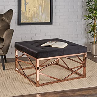 Christopher Knight Home Talia Modern Glam Tufted Velvet Ottoman Steel Frame, Black + Rose Gold