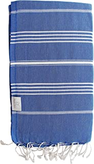 Plush Yarn Classic Peshtemal Turkish Made Bath / Beach Towel, 100% Authentic Premium Turkish Cotton 100cm x 180cm (Royal Blue)