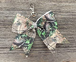 Camouflage Camo Rhinestone Cheer Bow Keychain