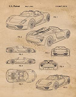 Original Porsche 918 Concept Car Patent Poster Prints, Set of 1 (11x14) Unframed Photo, Wall Art Decor Gifts Under 15 for Home, Office, Man Cave, College Student, Teacher, Germany Cars & Coffee Fan