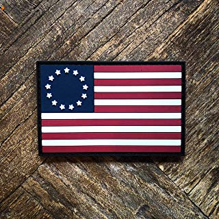 NEO Tactical Gear Betsy Ross US Flag PVC Rubber Morale Patch – Crossfit Patch - Hook Backed with Loop Attachment Piece That Can Be Sewn On