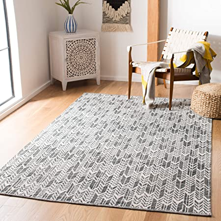 Safavieh Montauk Collection Mtk616m Handmade Cotton Area Rug 3 X 5 Slate Ivory Furniture Decor