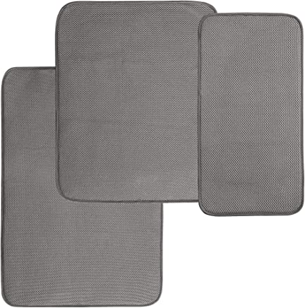 featured product mDesign Absorbent Kitchen Countertop Dish Drying Mats - 3 Piece Set,  Pewter/Ivory