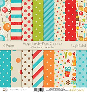 Pattern Paper Pack - Happy Birthday - Scrapbook Premium Specialty Paper Single-Sided 12