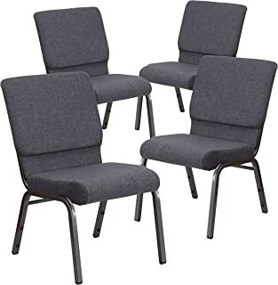 Flash Furniture 4 Pk. HERCULES Series 18.5''W Stacking Church Chair in Dark Gray Fabric - Silver Vein Frame
