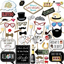 Las Vegas Casino Photo Booth Props Party Kit 44 Pieces with Wooden Sticks and Strike a Pose Sign by Outside The Booth