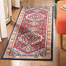 Safavieh Monaco Collection MNC207C Modern Oriental Medallion Red and Turquoise Distressed Runner (2'2