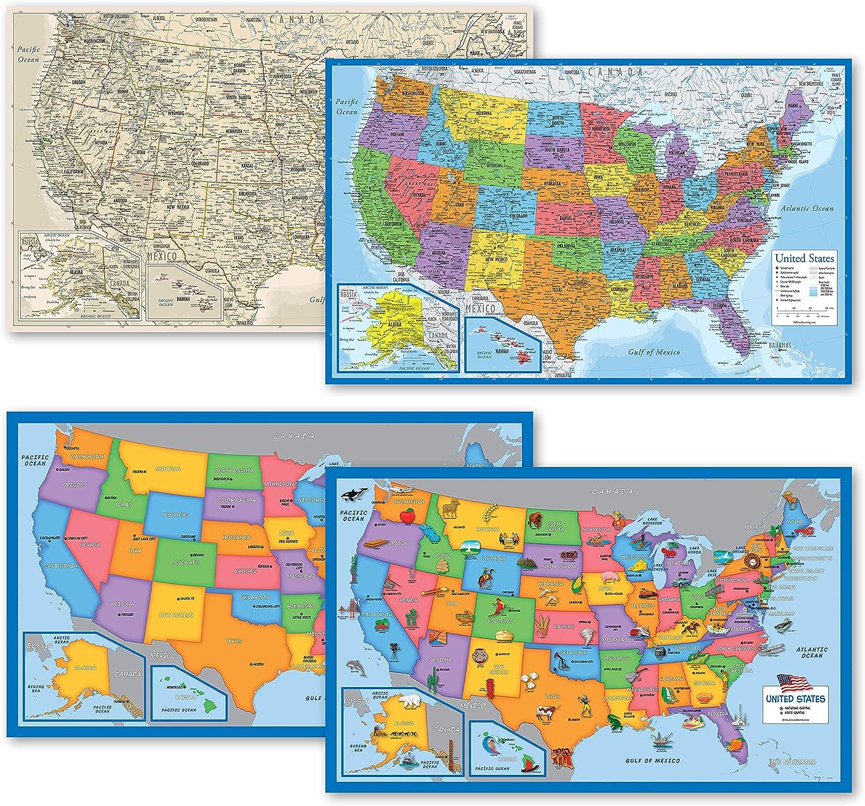 4 Dedication Pack - USA Wall shopping Map B Blue Tan Long Set Illustrated