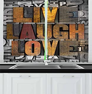 Ambesonne Live Laugh Love Kitchen Curtains, Saying Promoting The Values of Human Life in Colorful a Pattern, Window Drapes 2 Panel Set for Kitchen Cafe Decor, 55