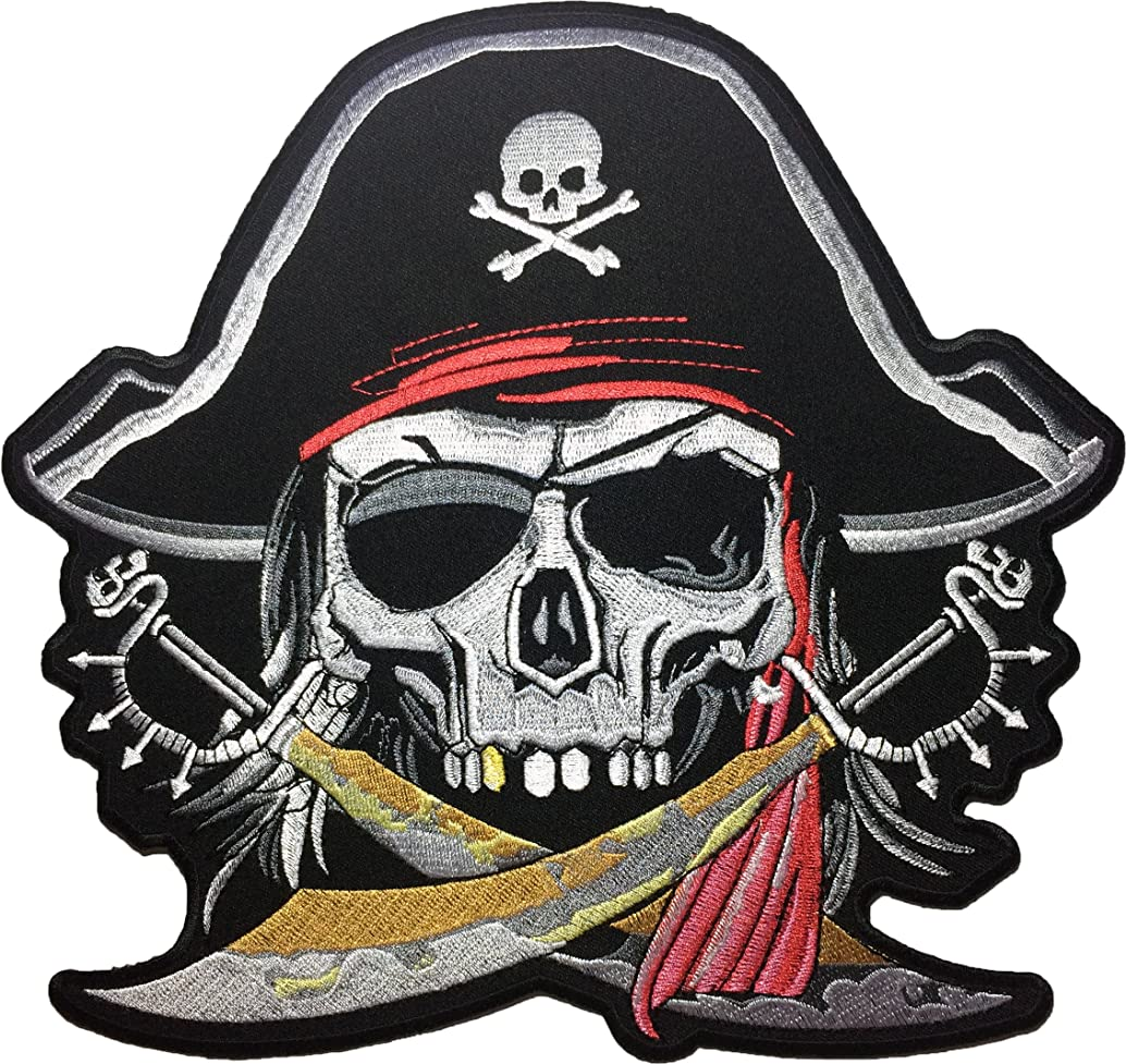 [Large Size] Papapatch Pirate Skull Captain Ghost Cross Swords Red Turban Hat Embroidered Sewing Iron on Patch (SKULL-PIRATE-LARGE)
