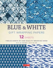 Blue & White Gift Wrapping Papers: 12 Sheets of 18 x 24 inch Wrapping Paper