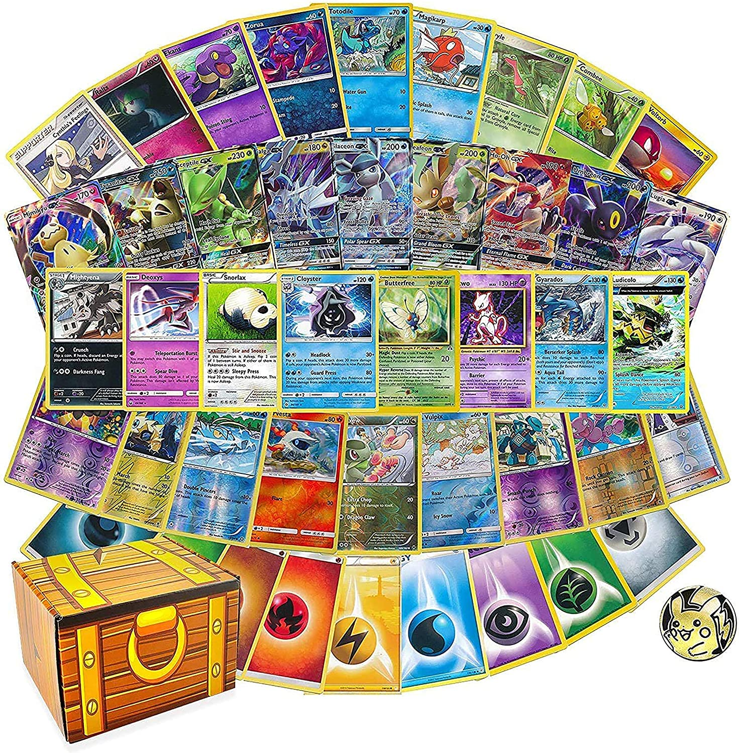 100 Assorted Cards: Features 1 GX, Rares, Holos, and 45 Bonus Energy Cards - All Cards are Authentic - Includes Golden Groundhog 50 Cards Capacity Deck Box!: Toys & Games