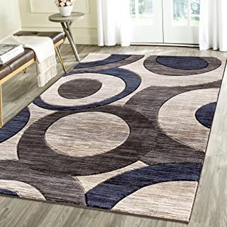 Geometric Carved Design Persian Area Rug Emerald Collection (2' x 3', Blue/Grey)