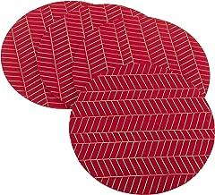 SARO LIFESTYLE Metallic Chevron Design Felt Placemat-Set of 4, 15