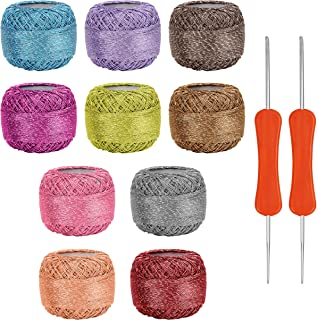 10 x Sparkly Colorful Glitter Thread Set with 2 Crochet Hooks - 92.95 Yards Assorted Color Crochet Thread - Crochet Yarn S...