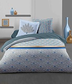 Home Linge Passion 3 Piece Duvet Cover Set - 100% Cotton - 57 Thread Count - Double - 220 x 240 cm - LOUXOR Blue