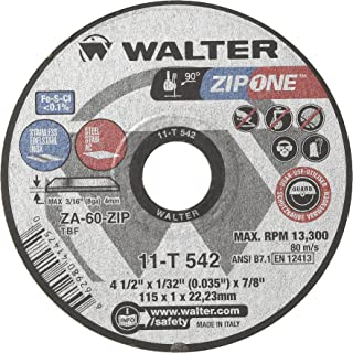 Walter Surface Technologies 11T542A High Performance Cut-Off Wheel, Round Hole, Grit ZA-60-ZIP, 1/32