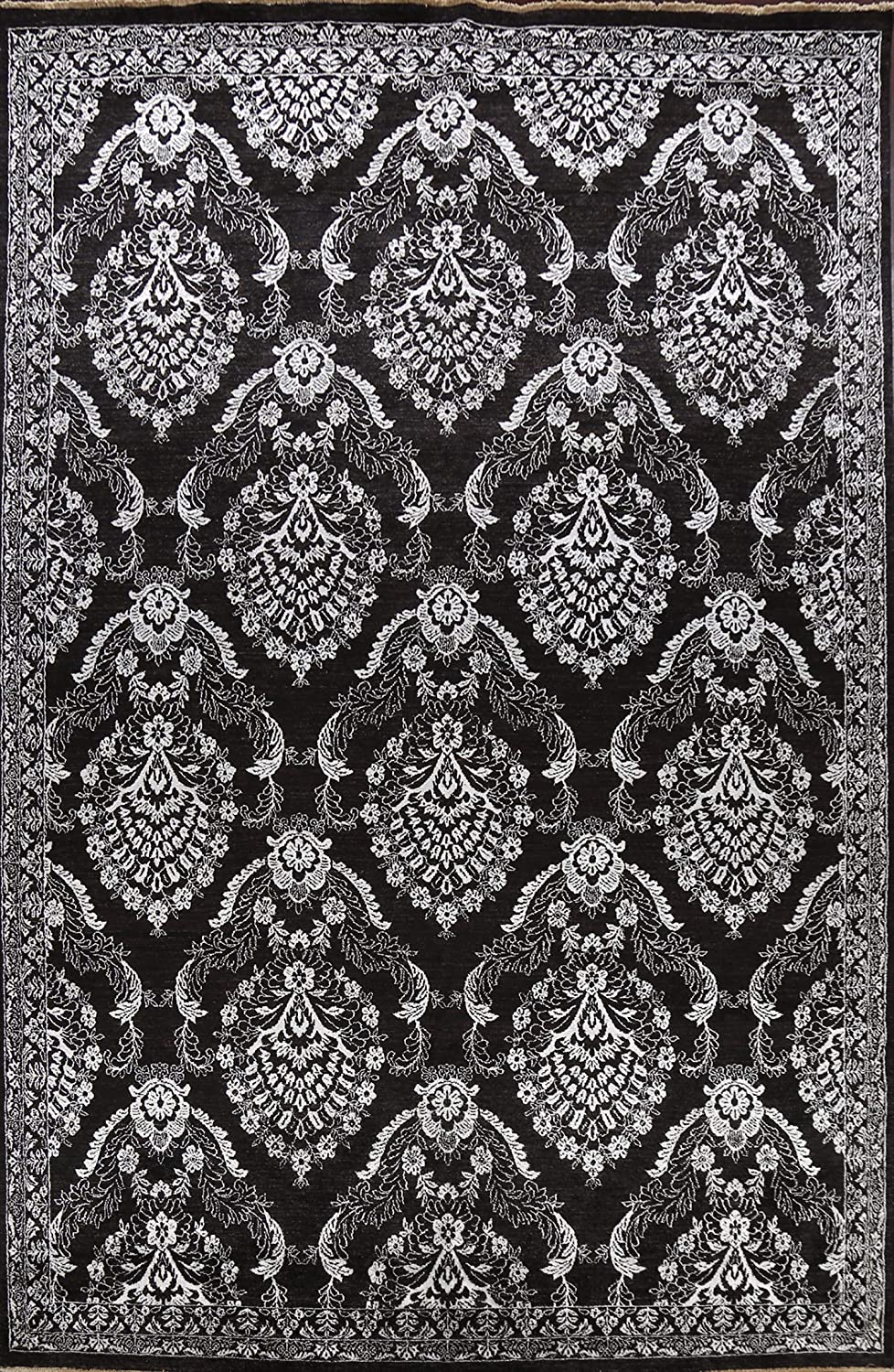 100% Vegetable Dye A surprise price is Max 73% OFF realized Black Floral Oriental Wool Hand Area Silk Rug