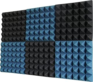 "Foamily 6 Pack - Ice Blue/Charcoal Acoustic Foam Sound Absorption Pyramid Studio Treatment Wall Panels, 2"" X 12"" X 12"""