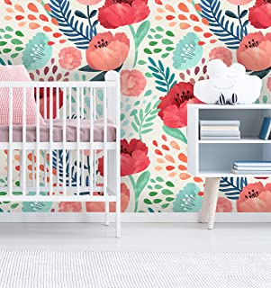 Removable Wallpaper Self Adhesive Wallpaper Vintage Poppy Flowers Peel & Stick Wallpaper Nursery Wallpaper (25