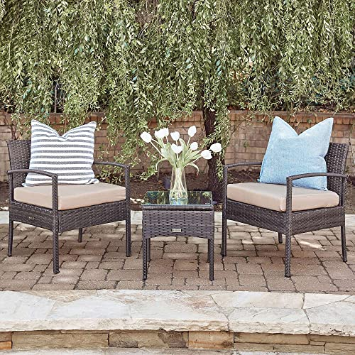 new arrival BELLEZE 3pc Patio Set Furniture Outdoor lowest Sofa Cushion Seat Wicker online sale Set Rattan Backyard Chairs w/Coffee Table, Brown sale