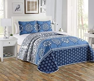 Quilted bedspread Coverlet Floral Navy Blue Blue Beige Over Size New # Diana (Full/Queen)