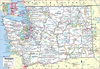 Cool Owl Maps Washington State Wall Map Poster Rolled (Laminated 34