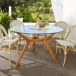 Mozaic Top and Base Glass Dining Table, Clear/Brown