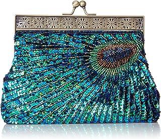 MG Collection Nisha Beaded Sequin Peacock Clutch